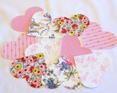 VALENTINE 10 Iron-on Heart Appliques, Flowers, Floral, Stripes, Dots, Fusible, Die-cut, Pink, Red, , 10 Pieces