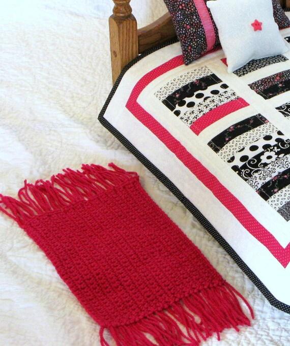 Hot Pink Crocheted Doll Rug Throw Rug Sasha Doll By