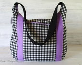 Checkered Devlin Hobo Black and White with Purple accents