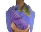 Wrap Triangular Shawl Knit Periwinkle Olive Wool Mohair Scarf Shawlette