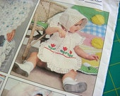 Little Vogue Pattern 2177 -Bibs, Bonnets & Bloomer Panties -Baby Girl Boy Toddler Hat Ruffles Bloomers Vintage Applique Embroidery Transfers