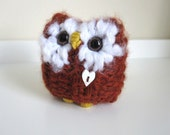 Baby Owl, Knitted Pumpkin Spice Love Owl, Plush Miniature Animal