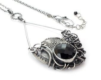 Wire wrapped necklace, black necklace, gemstone statement jewelry, bold necklace, sterling silver jewelry, luxury jewelry