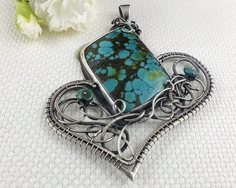 Turquoise necklace, wire wrap jewelry, statement bold jewelry, gemstone fine necklace, sterling silver necklace, metalwork jewelry