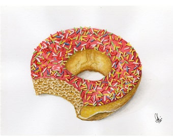 The Delicious Donut -- ORIGINAL Watercolor Painting
