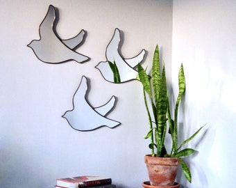 Bird Mirrors Trio of / Handmade Wall Mirrors Set Of Three 3 Art Shape Flock Miroir