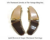 50's Brown & Taupe Thermoset Earrings in Modernist Motif with Bezel Set Plastic in Silver Finding - Vintage 50s Clip Earring Costume Jewelry