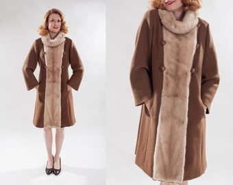 Vintage 1960s Mod Princess Coat - Mink Trimmed Collar - Winter Fashions