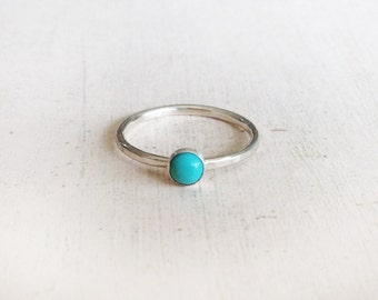 Turquoise ring, sterling silver ring, gemstone ring,genuine turquoise ring, round gemstone silver ring, round turquoise ring