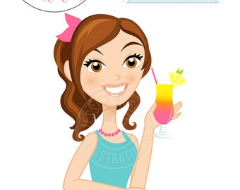 Cute Girl wtih Hurricane Drink Character Illustration, Brunette Hair Woman, Woman Character, Woman with Drink Illustration, Blog Character