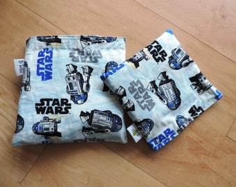 Lg/ Md Star Wars R2D2 Set Reusable Snack Sandwich Bag Baggy with Water Resistant Lining