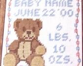 New Baby Needlepoint Kit, Vintage Unused Wayne Maurer Teddy Bear Kit to Personalize