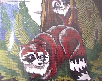 Raccoon Needlepoint Craft Kit, Vintage Unused Kit to Make Pillow or Wall Hanging