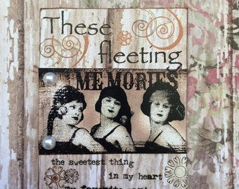 A Fleeting Memory Handmade Original ACEO ATC  Artist Trading Card Alteredhead On Etsy Artwork ATC Original Handmade Design On Etsy Artwork