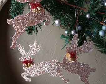 Glittered Reindeer ornaments gold glitter Christmas ornaments deer home decor vintage style cottage chic woodland animal Christmas