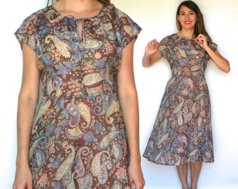 60s Brown Floral Day Dress | Sheer Cotton Dress, Extra Large