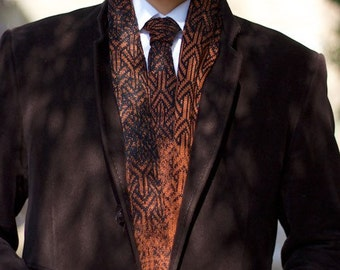 Knitted one-of-a-kind cotton men scarf ELEMENTS - Rust