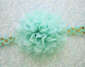 Mint Baby Headband, Mint Headband, Mint and Gold Headband, Mint Toddler Headband, Mint Girls Headband, Baby Headband, Toddler Headband