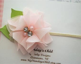 Blush Baby Headband, Blush Pink Headband, Pink Headband, Flower Headband, Newborn Headband, Baby Headband, Toddler Headband