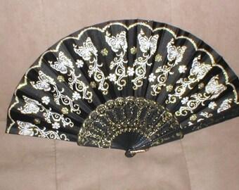 Vintage Black & Gold Folding Fan with butterflies