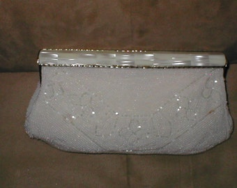 Vintage White mother of pearl Beaded Evening Bag Clutch Purse