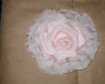 Vintage Millinery Pink Silk Large Rose Flower