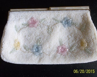Vintage White with Pastels Beaded Evening Bag Clutch Purse