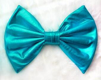 HUGE Metallic Turquoise Hair Bow