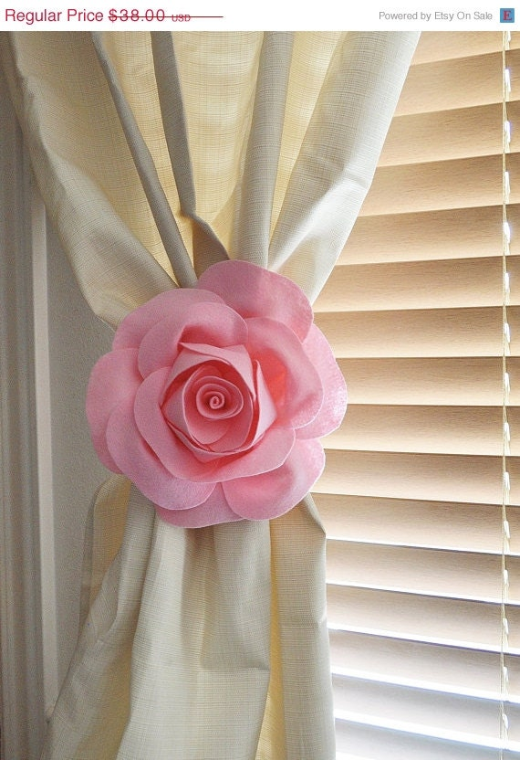 DAY SALE Two Rose Flower Curtain Tie Backs Curtain Tiebacks Curtain ...