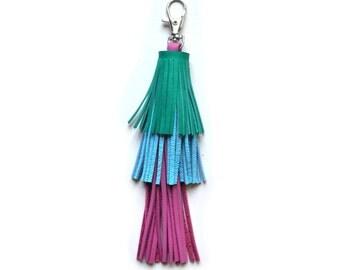 Blue Leather Tassel Key Chain, Green Tassel Fringe, Fuchsia Pink Tassel, Long Layered Key Chain, Purse Bag Charm, Leather Key Fob