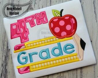4th grade pencil apple applique