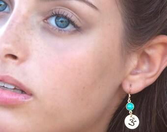 OHM Earrings, Turquoise Earrings, Turquoise Jewelry, Spiritual Jewelry, OM Earrings, Yoga Earrings, Meditation Jewelry, Hindi Jewelry