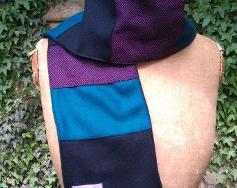 tweed wool scarf in purple blue and black