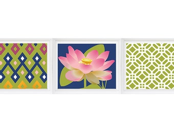 Lotus Kitchen Print poster, Garden Geometric Patterns - Lily Lotus Flowers set of 3 pattern Navy Pink Olive Green Custom color available
