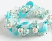 Icy Blue Frosty Rose Cluster Bracelet and Earrings Set