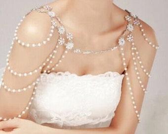 Art Deco Wedding, Bridal Pearl Necklace, Art Deco Necklace, Art Deco Jewelry, 1920's Flapper Necklace, Art Deco Bride, Back Drop Necklace