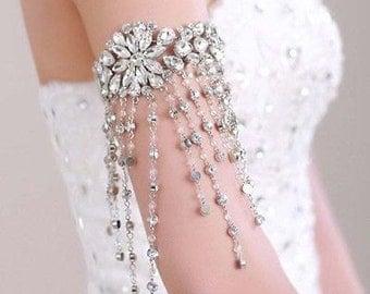 Rhinestone Cuff Bracelet, Bridal Cuff Bracelet, Beaded Crystal Cuff