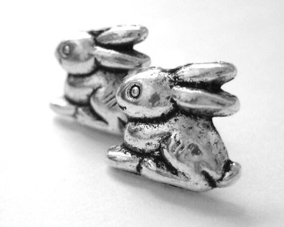 Sterling Silver Bunny Earrings - Alice in Wonderland Stud Earrings - Easter Earrings - Bunny Rabbit Jewelry