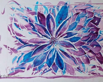 Purple blue ORIGINAL Fantasy flower watercolor  watercolour Lovely art piece interior decor
