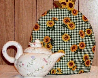 Green Plaid Sunflower Teapot Cozy - Thermal Insulated - English Style