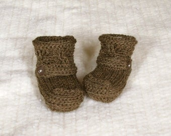 Crochet Baby Booties - 3 to 6 Months - Brown