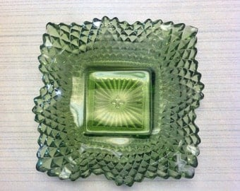 Green Cut  Glass Depression Dish UNDER 20