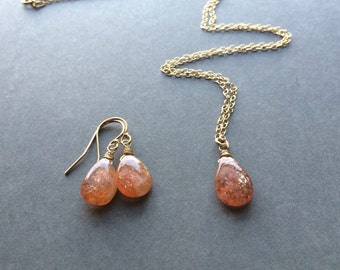 Petite Sunstone Earrings in Gold