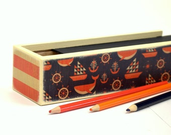 Ahoy Pencil case, Pencil Box, Supply Box, Nautical Craft Supply Box, Craft supply Box, Pencil Carrier, Art Supply Box, Pencil Carrier,