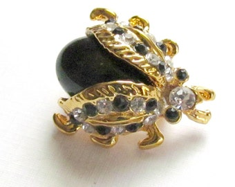 Gold Bug Pin Black and White Rhinestones Monet