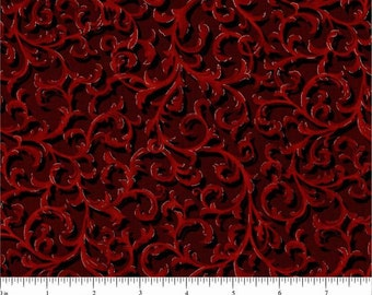 Christmas Visions from Choice Fabrics - Full or Half Yard Black and Red Christmas Scrolls