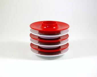Six Egg Cups in Red and White by Bjørn Christensen for Rosti of Denmark