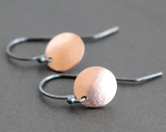 Earrings - Rose Gold Circles with Sterling Silver Ear Wires - Matte Finish 10mm Discs