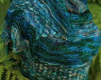 Blue and Green Quilted Planet Pure Merino Wool Shawl or Scarf