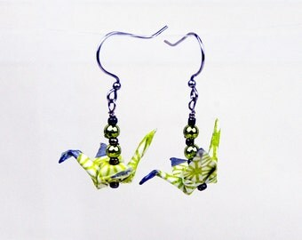 Yellow Origami Peace Crane Earrings Hand-Made, eco-friendly, paper gift